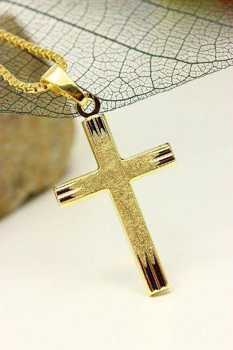 ASS 333 Gold Kommunion Konfirmation ANHÄNGER KREUZ Kreuzanhänger,diamantiert,matt,28mm mit Gold Double Venezianer Kette | Your #1 Source for...