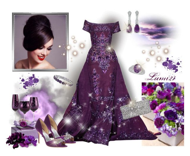 purple by lumi-21 on Polyvore featuring Badgley Mischka, Lord & Taylor, Blue Nile, Pier 1 Imports, purple, party, stylish, Gowns and Elegance