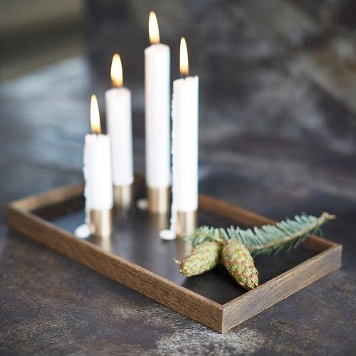 Candle tray, black oiled oak/brass