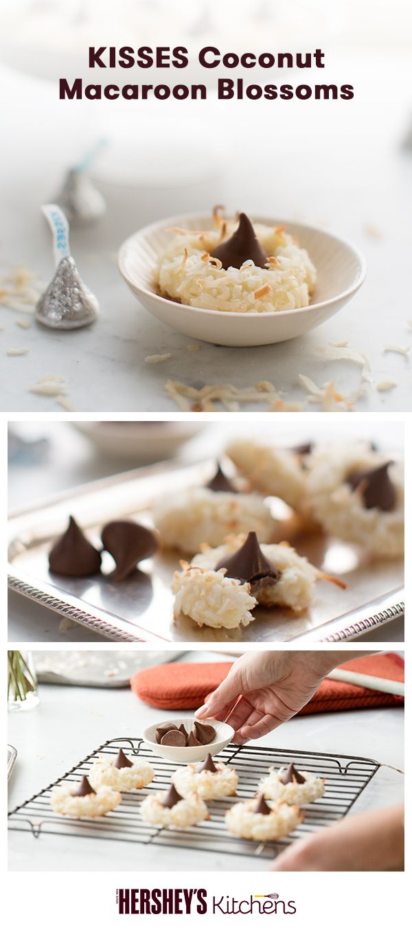 We love this creative twist on a classic: KISSES Coconut Macaroon Blossoms. This is a total original made with MOUNDS Sweetened Coconut Flakes and HERSHEY'S KISSES Brand Milk Chocolates. Add major flavor and texture to a Christmas cookie favorite.