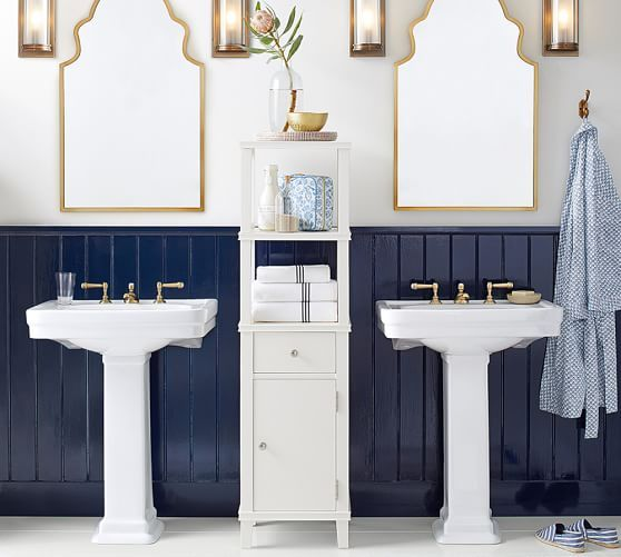 Set up for bunk bath - Sherwin Williams Naval; double pedestal sinks; shiplap
