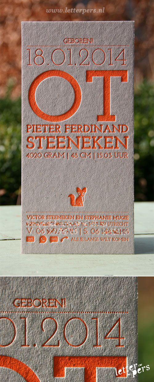 letterpers_letterpress_Geboortekaartje_Ot_fluor_neon_oranje_vosje_karton_stoer