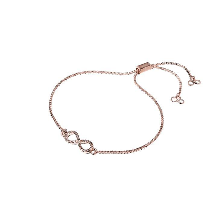 Jeminee Jewellery London Eternal Love #RoseGold Infinity #Bracelet with #swarovski crystals | #GiftforHer for valentines day | #Fashion #Style #Sparkle