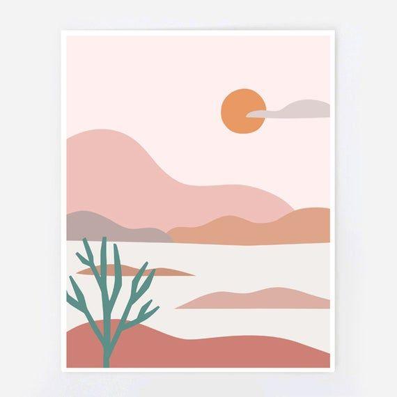 Desert Landscape Minimalist Landscape Etsy Easy Canvas Art Simple Canvas Paintings Painting Art Projects