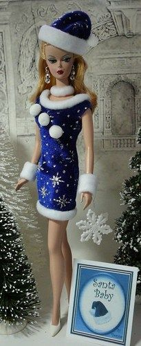 Santa Baby Barbie in blue and sliver FROM: the doll page For Sale Now