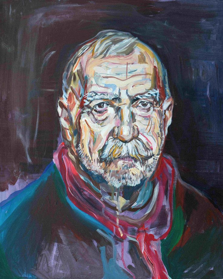 Wolfgang Neumann, Portrait Aras Ören, 2014, Acryl auf Leinwand, 50x40 cm // Wolfgang Neumann - Kopfstand. Aras Ören zum 50.Geburtstag, Egbert Baqué Contemporary Art, Berlin.
