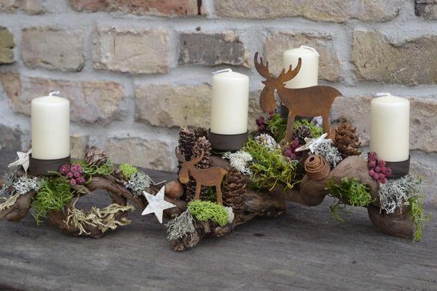 Kerzen & Beleuchtung - Adventsgesteck-Hochwaldwanderung - ein Designerstück von Moneria bei DaWanda