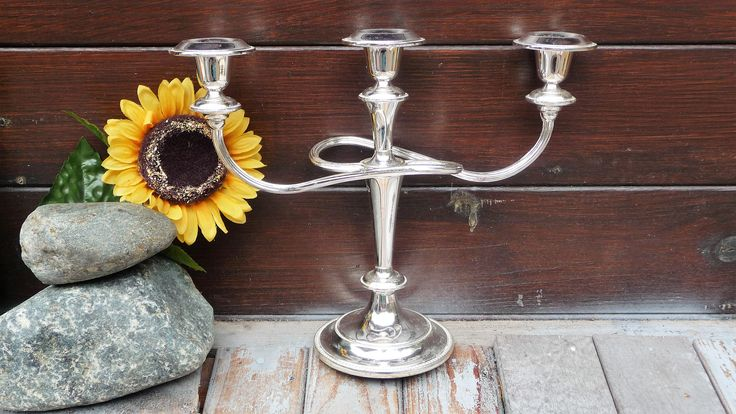 Silver Plated Twist 3 Arms Candle Holder, Candle Stick Holder, Vintage English Candlelabra, Hme Decor by Grandchildattic on Etsy