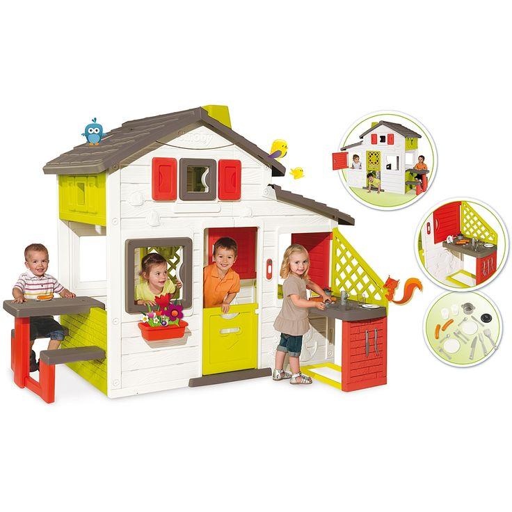 Bienvenue dans votre nouvelle demeure ! Spacieuse et design, la Maison Friends House de chez Smoby et sa cuisine d'été deviendront rapidement l'endroit préféré de vos enfants. Ils pourront s'amuser à faire comme les grands et se cacher ! La Friends House propose plusieurs espaces de jeux : maison, espace pique-nique, jardinet, passage secret... Elle est équipée de 2 portillons dont un à l'arrière de la maison servant de ''passage secret'', de 2 volets 360° perm...