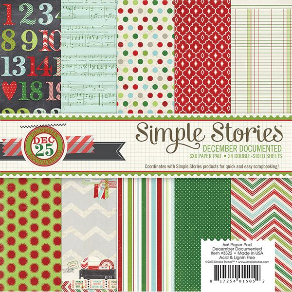 Simple Stories - December Documented Collection - Christmas - 6 x 6 Paper pad at Scrapbook.com