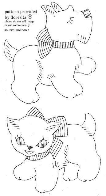 unknown puppy and cat pattern by floresita's transfers, via Flickr
