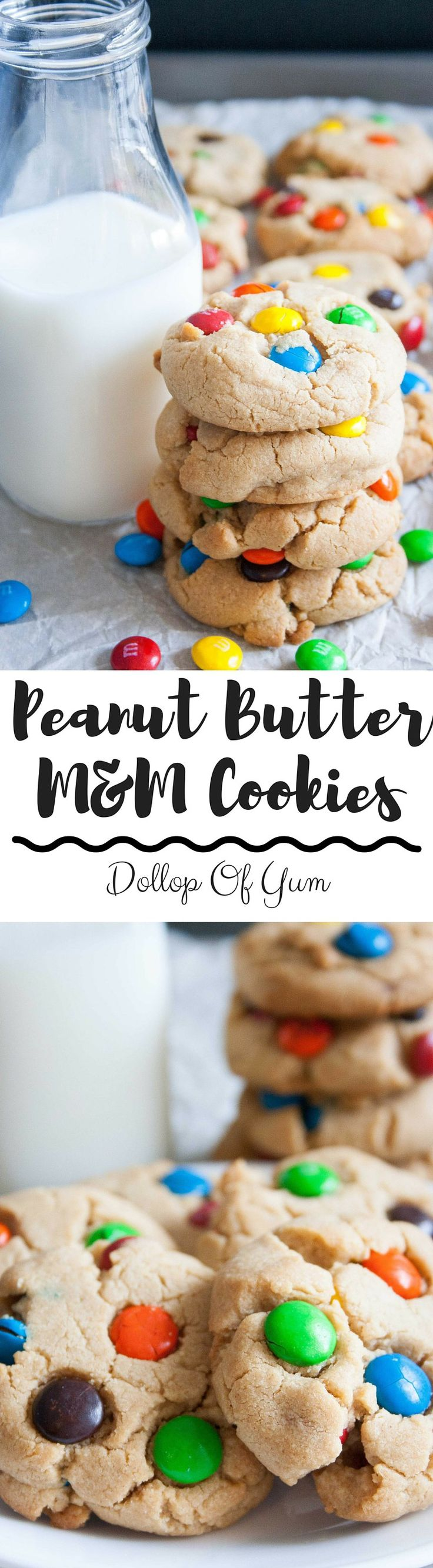 Peanut Butter M&M Cookies! Super soft and thick and the BEST M&M cookies you'll ever have!
