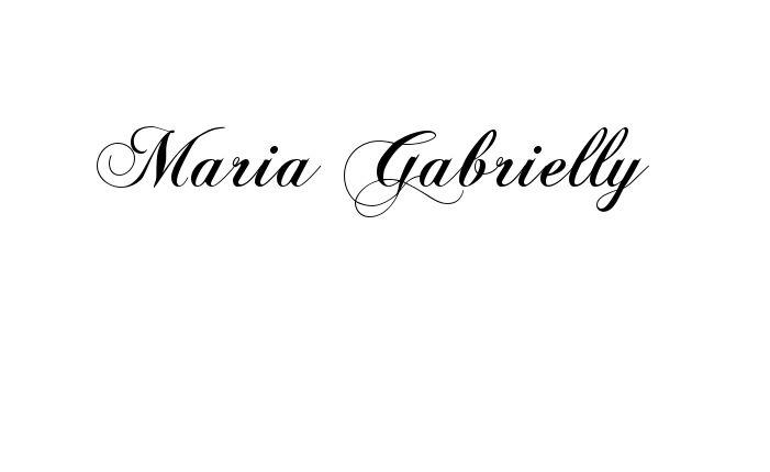 Tatuagem do nome Maria Gabrielly  utilizando o estilo ChopinScript Regular