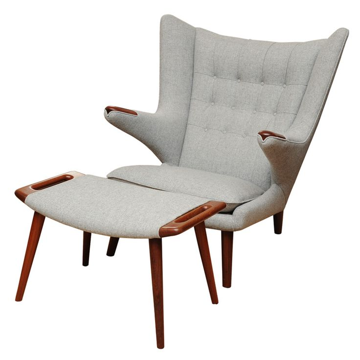 Hans Wegner Papa Bear Chair and Ottoman | From a unique collection of antique and modern lounge chairs at https://www.1stdibs.com/furniture/seating/lounge-chairs/