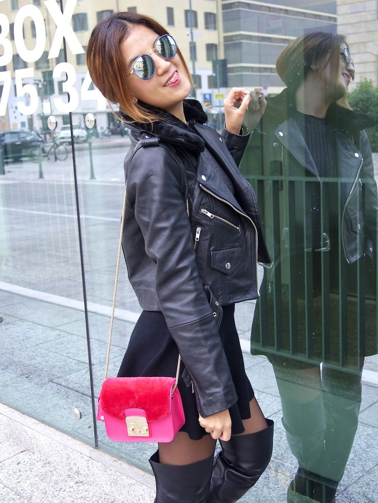 Jacket: HIDE | Sweater: Zara | Skirt: Zara | Boots: Maiyet | Bag: Furla | Belt: Asos | Sunnies: Ray-ban http://www.adressgirl.com/2015/10/sunday-mood-fall-wardrobe-staple.html