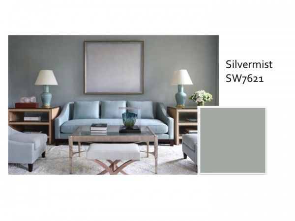Sherwin Williams, Silver Mist  This one is beachier and greener than the other grays.  It has a frenchy-country thing happening with it that i love.Decor, Living Rooms, Blue Room, Colors, Livingroom, Interiors Design, Toby Fairley, Families Room, Blue Living Room