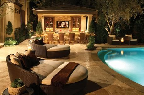 comfy: Pools Area, Lounges Chairs, Dreams Houses, Outdoor Living, Pools Bar, Dreams Backyard, Outdoor Spaces, Outdoor Bar, Dreams Yard