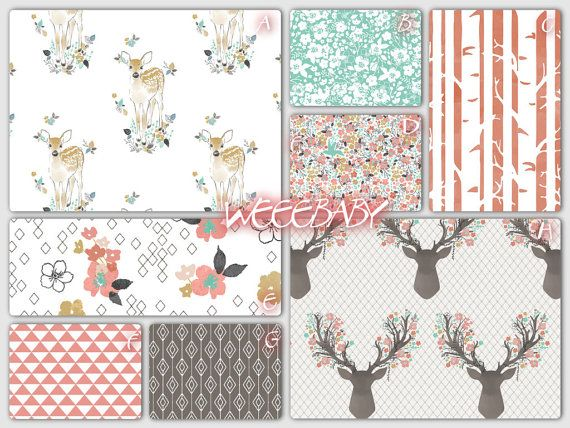 Baby bedding boy girl nursery custom crib bedding fawn for Boy nursery fabric