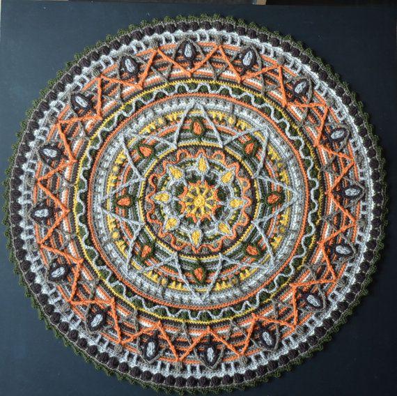 Crochet Mandala Rug Round Placemat for by LillaBjornCrochet, $53.00