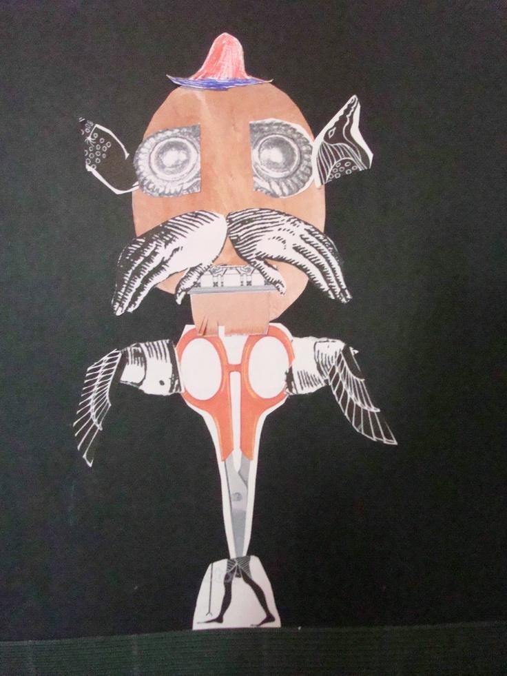 Zajęcia w szkole podstawowej na Bielanach. Portret. Technika kolażu.
