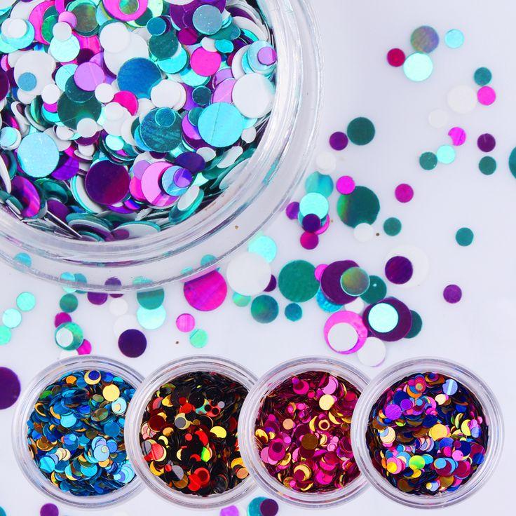 1 Box Brillante Colorato Paillettes Chiodo Punte Forma Rotonda Del Chiodo di Scintillio Consigli 35 Colori Manicure Del Chiodo Decorazione di Arte