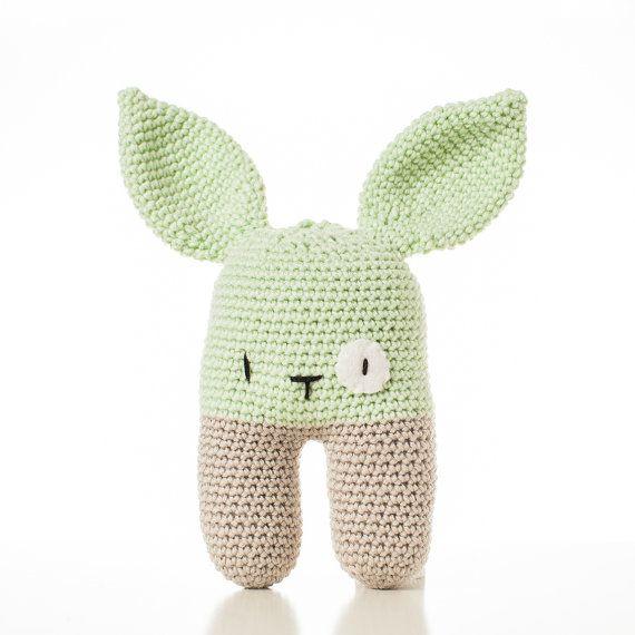 crochet Baby Rattle Bunny light green handmade von beaniefabrik