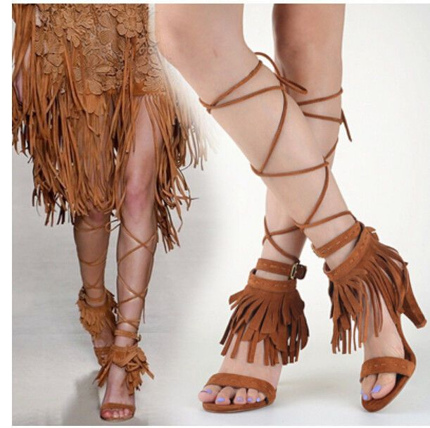 Womens Tassels Gladiator Strappy Open Toe Sandals High Heel Shoes Floral 6Colors