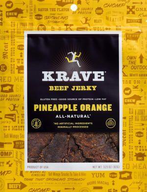 PINEAPPLE ORANGE BEEF JERKY - 3.25 oz, recommended by Jillian Michaels: good snacks for kids