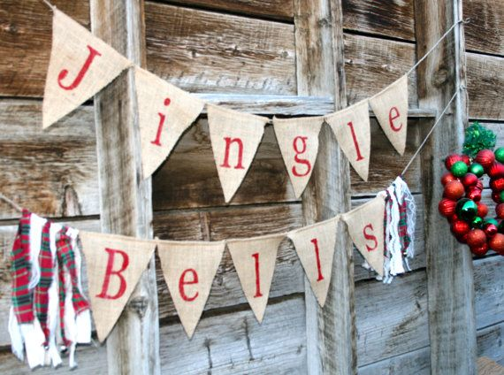 Jingle Bells Burlap Banner - Burlap Banner - Merry Christmas - Red - Garland - Holiday decor - Photography Props - Bells - Hand Painted