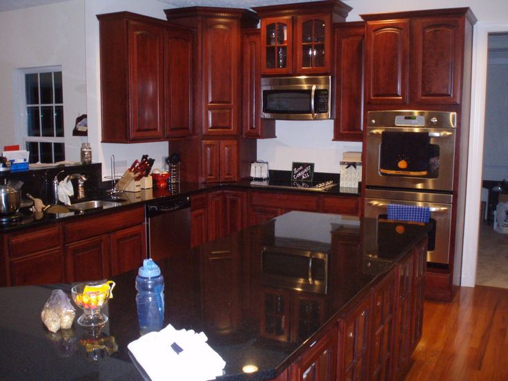 1000 images about cherry black granite kitchens on for Cherry kitchen cabinets with black granite
