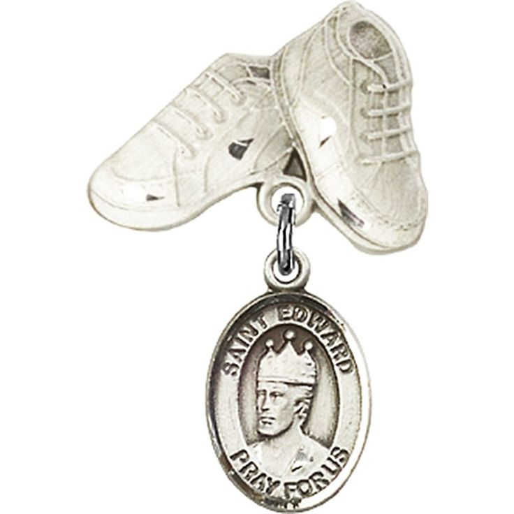 Sterling Silver Baby Badge with St. Edward the Confessor Charm and Baby Boots Pin 1 X 5/8 inches *** You can find out more details at the link of the image. (This is an Amazon Affiliate link and I receive a commission for the sales)