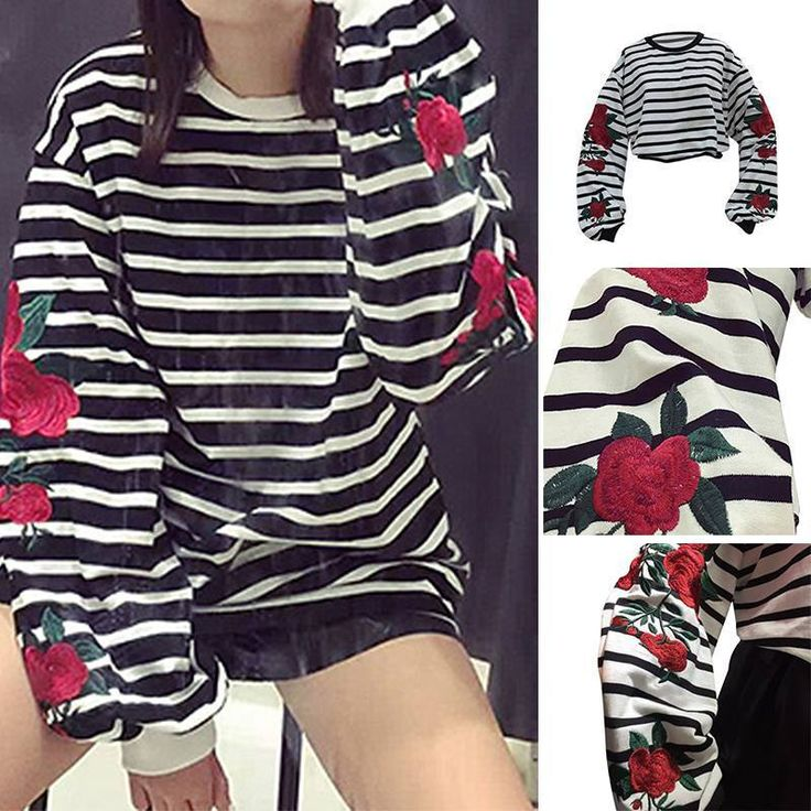 Chinese Embroidery Black And White Striped Fashion Women Ladies Sweater Hoodie