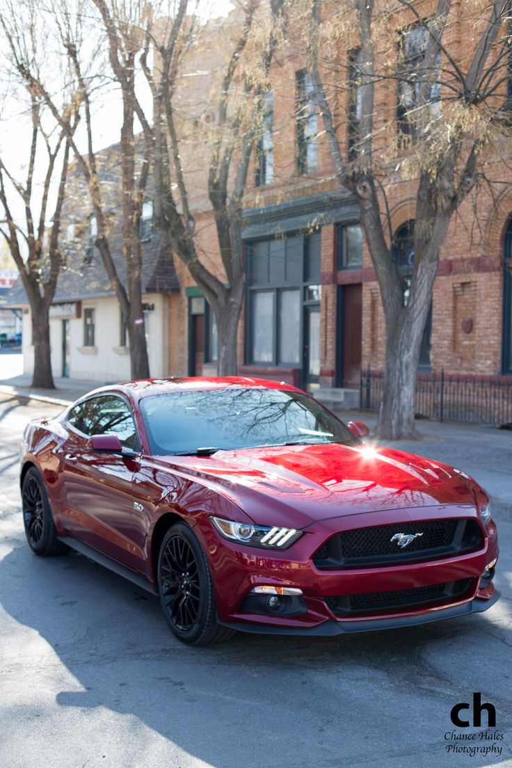 Red 2015 Ford Mustang. Damn, they just keep making it look meaner than its contemporaries!