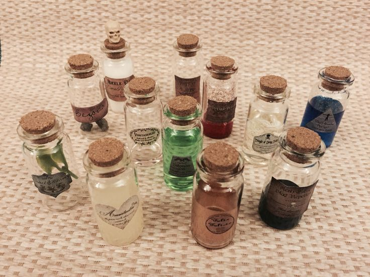 Inspired by a post I saw on Pinterest, I finally made my Harry Potter potion bottles! I just need a good display case
