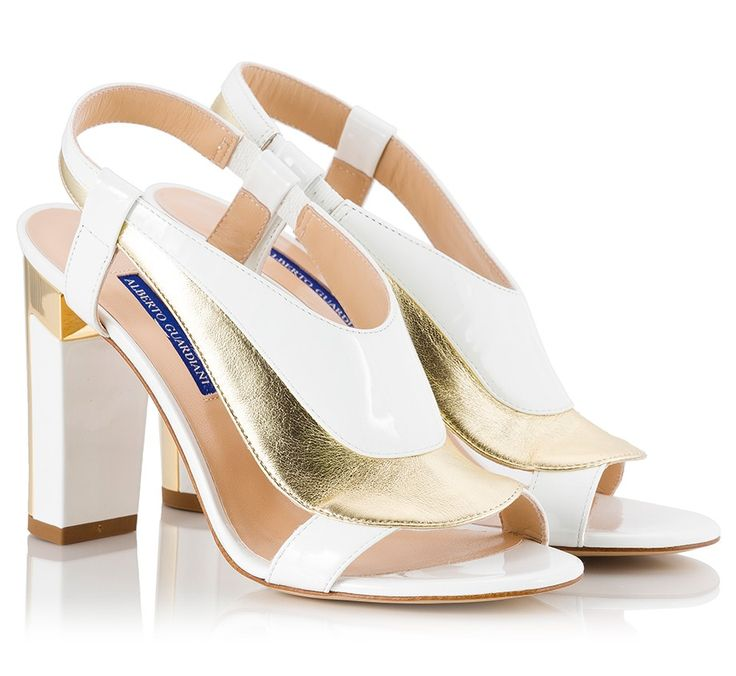 Alberto Guardiani DENISE White patent leather and gold-leather detaild block heel sandals | Fratelli Karida Shoes