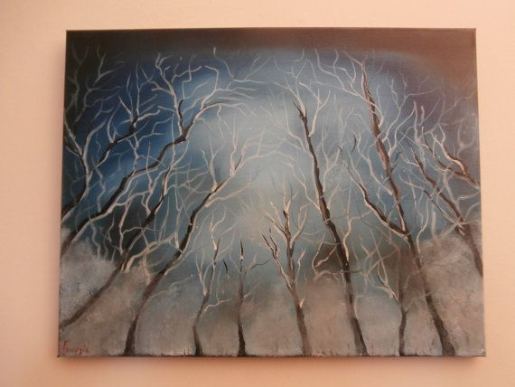 Handmade Oil Painting On Canvas Light Above The Trees Dark Blue Sky Wall Decor Decoration Buying Modern Art Hand Painting Contemporary