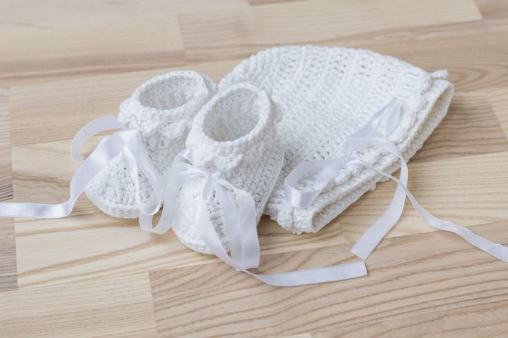 Baptism Crochet Baby Set, Unisex White Baby Booties and Hat, Size: 3-6 months, Crochet Wedding Baby Shoes and Hat, Photo Prop, READY TO SHIP by namabi on Etsy