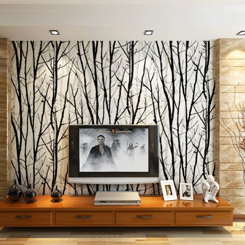 Abstract Tree Branches Wallpaper Roll Modern Stripe PVC Wall Paper For Living  Room TV Background Wall Home Decor Black White Part 76