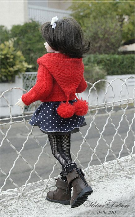 MSD   BJD Knitting Red jacket with hood by AldanaDollyBears