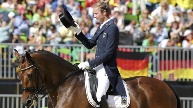 Great Britain win a silver medal in the Olympic team dressage event, as world champions Germany claim gold. Great Britain won a silver medal in the Olympic team dressage event, as world champions Germany claimed gold.  Britain won this event at London 2012, but this time Spencer Wilton, Fiona Bigwood, Carl Hester and Charlotte Dujardin were beaten into second.