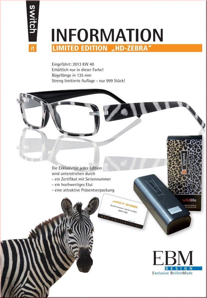 Switch it Limited Edition HD-Zebra  Brille Acetat