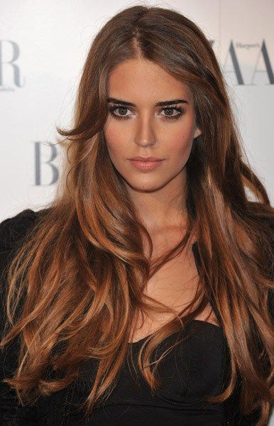 #29: Caramelized Orange Clean and pure orange ribbons for the ends will look more elegant if dipped into melted sugars, figuratively speaking, of course. Brownish orange is an awesome ombre solution for medium brown hair.