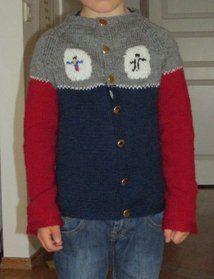 Strikket jakke til barn, Duo. Knittet jacket for kids. Superman and Batman.