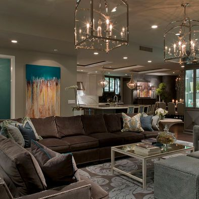 Living Room Teal And Brown Living Room Design, color on wall and sofa...Dorian Gray SW