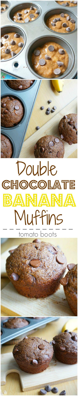 Double Chocolate Banana Muffins   tomatoboots.co