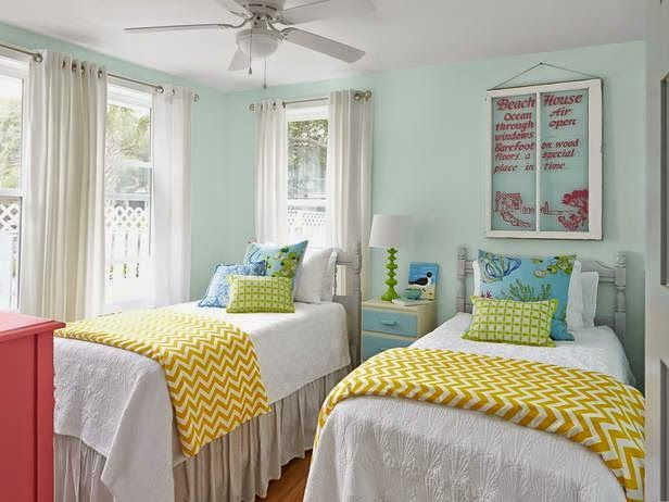 White coverlets and bed skirt then use blanket and pillows to add color.  Walls are Sherwin Williams Buoyant Blue
