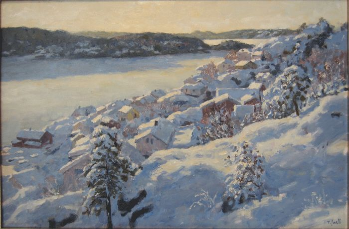 Tore Juell (1942-): Vinterlys - Havnefjorden