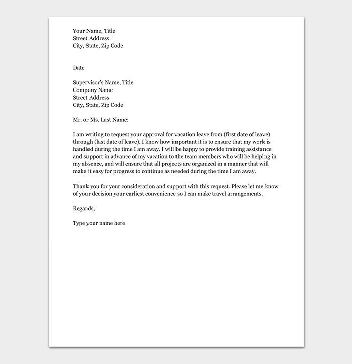 Vacation Request Letter Samples Best Of Vacation Leave Request Letter How To Write With Format Letter Sample Formal Business Letter Lettering