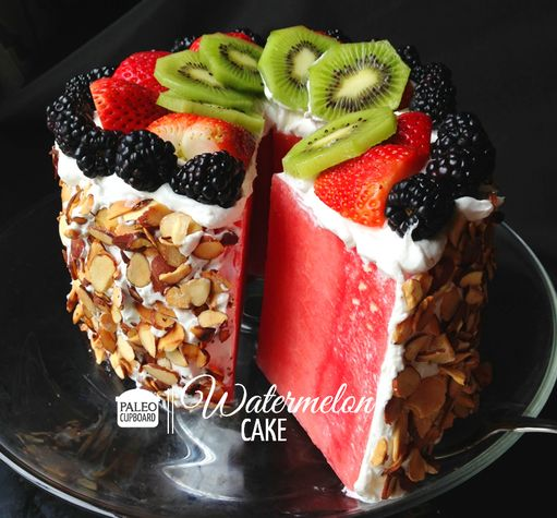 Paleo Watermelon Cake ~ a GREAT idea for summer PLUS a wonderfully fun SurPRIZE (!!!) cake for the unsuspecting birthday girl or boy (adults).