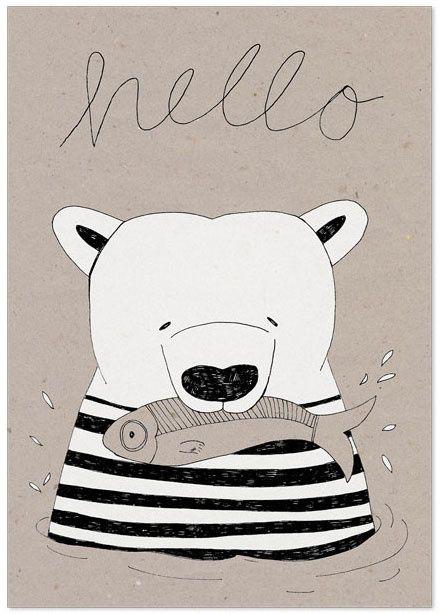 Studio Rainbow Prints - A5 Poster IJsbeer 'Hello'